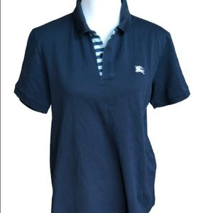 Burberry Navy Polo With Logo And Striped Placket